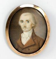Antique French Portrait Miniature c. 1700s in 14k - 15k Gold Framed, J. Bourgoin
