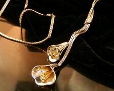 Avon Signed Vintage 80''s to Mod Graceful Lily Satoir Two Tone Necklace 316s7