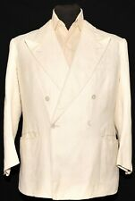 "SPECIAL VINTAGE BESPOKE DOUBLE BREASTED WHITE LINEN SUIT 42"" S 32"" W 1940'S"
