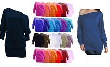 Women one off shoulder long sleeve t-shirt slouchy baggy top- sizes 8-26 batwing