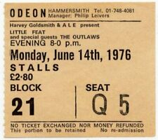 Little Feat The Outlaws Hammersmith Odeon, London 14/6/76 Ticket