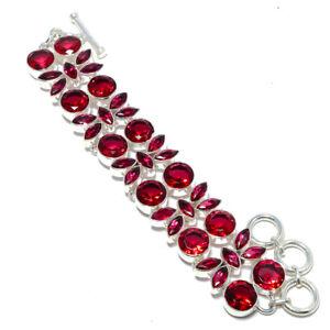 "Pink Tourmaline 925 Sterling Silver Handmade Bracelet Jewelry 7.99"" W3123"