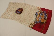 "Vintage Japan Silk Scarf Floral Multi Color 11"" by 42"" #99"