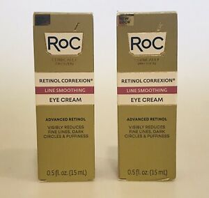 2 RoC RETINOL CORREXION Line Smoothing Eye Creams 0.5 oz each  Exp. 7/2024