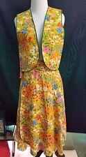 CUTE Mid Century Vintage Wrap Around Skirt Set Vest Floral Womens Medium Outfit