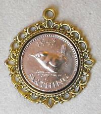 1947 70th birthday Lucky bird Farthing Pendant Charm gold tone gift David Bowie