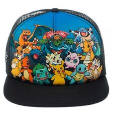 POKEMON: PIKACHU, CHARMANDER, SQUIRTLE GROUP BLUE TRUCKER SNAPBACK CAP HAT *NEW