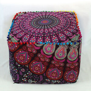 """18"""" Indian Peacock Mandala Square Ottoman Pouf Cover Footstool Home Décor Seat**"""