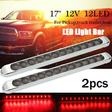 2x 17'' 12 LED Red Turn Tail Brake Stop Light Bar Strip For Truck Trailer Boat
