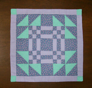 """Hitty or Kish Doll  Quilt  ~  8 3/4"""" x 8 3/4""""  ~ GOOSE IN THE POND ~"""
