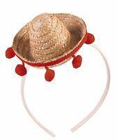 Mini Straw Sombrero Mexican Hat Headband Cinco De Mayo Prop Costume Accessory