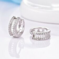 Unique Women Charms White Sapphire Crystal Silver Round Hoop Earrings Jewelry