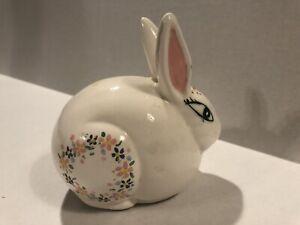 Vintage Japan White Porcelain Bunny Flowers 1982