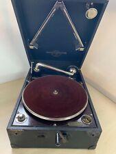 Vintage W J Elliott Columbia Gramophone Black Cased Hand Crank Record Player 22C