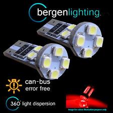 2X W5W T10 501 CANBUS ERROR FREE RED 8 LED LUCE DI CORTESIA LAMPADINE HID