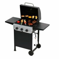 Gas Grill 3 Burner Stainless Steel BBQ LP Propane Outdoor Barbecue Cooker Patio