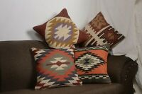 4 Set of Wool Jute Throw Indian Pillow Cover Vintage Handmade Kilim Rugs 10015
