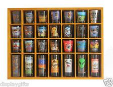 28 Shot Glass Display Case  Rack Wall Shelves Shadow Box Holder Cabinet, SC11-OA
