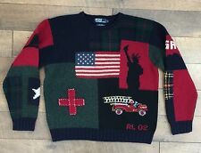 POLO RALPH LAUREN 9/11 Tribute Sweater Wool FDNY Memorial Hand Knit RARE Large