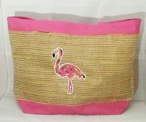 "Flamingo Bag Pink Tote Large Cruise Beach Summer Theme Park Travel 21x15"""