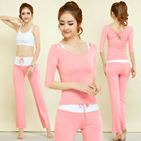 New Women's Comfortable Yoga Wear Gym Suits Tops & Pants Sets Dancing 3/4 Sleeve