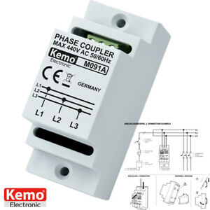 KEMO M091A Phasenkoppler POWERLINE 10-650 Phasen-Koppler Hutschienenmontage(404