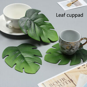 Palm Leaf Placemat Tropical Artificial Plant Insulation Coaster Coffee Cup Mat