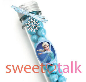 ELSA CHOCOLATE PARTY FAVOUR, CANDY TEST TUBE LOLLY STICK WITH FROZEN THEME LABEL