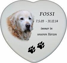 """Grabbild Grabstein Tiergrabbild Porzellan Herz Hund-p12â–ºmit Ihrem Fotoâ—""""15x13 cm"""