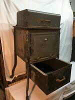 Vintage Industrial Ticker Tape Type Writer Machine Metal Stand wood wheels
