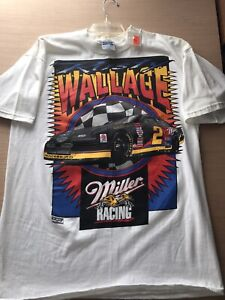 NWT 90's NASCAR Rusty Wallace NASCAR Miller Beer All Over Print Vintage T-Shirt