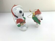 Vintage Snoopy Christmas Ornaments Lot of 2 Plastic/PVC Peanuts Woodstock