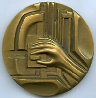 France French Electricity 40 years 1986 Art Bronze Medal by Mannoni 67mm 245g !!