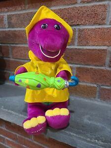"Barney Singing In The Rain 12"" Plush Music Stuffed 2002 Raincoat doesn't play!!!"