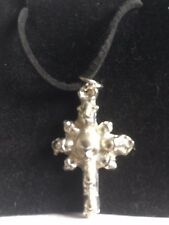 """Skull Cross TG277 Fine English Pewter On 18"""" Black Cord Necklace"""