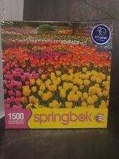 "SPRINGBOK TULIP GARDEN  1500 pc Puzzle Flowers brand new. 28.75""×36"""