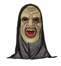 Mens Adult Halloween Demon Open Mouthed Mask With Hood Fancy Dress Accessory