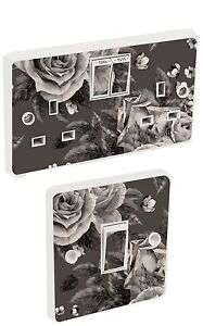 Black White Flowers Light Switch & Double Socket Sticker Vinyl / Skin cover so19