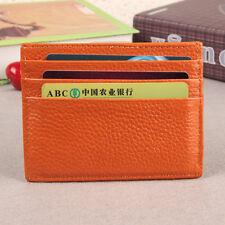 Men Women Genuine Leather Small Id Credit Card Wallet Holder Slim Pocket Case