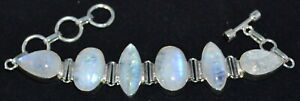 Chunky 35 Grams Rainbow Moonstone Bracelet Natural Gemstones Sterling 925 Silver