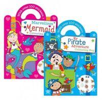 Colouring Books 100 Sticker Kids Pirate Mermaid Activity Children Art Fun Carry