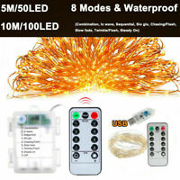 5/10M 100LED USB Copper Wire RGB Fairy String Light & Remote Control Xmas Party