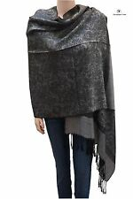 Elegant Jacquard Paisley Pashmina Shawl Scarf Stole Black and Grey for Women