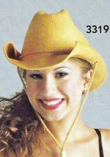 New Lot of 6 Theatrical Wheat Straw Cowboy Hats Elastaband for great fit ch/ladi