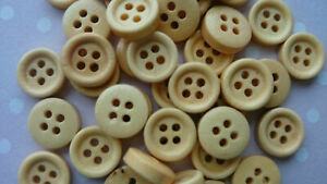 15mm Round Natural Wooden Button,4 Holes, Cardmaking, Sewing, Haberdashery