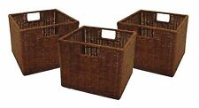 Set of 3 Storage Baskets Shelves Boxes Wicker Woven Rattan Small Square Brown