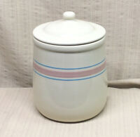 McCoy Pottery Cream Blue and Pink Stripe Canister/Cookie Jar/Crock w/ Lid # 133