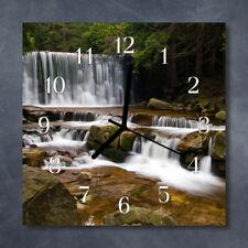Glass Wall Clock Kitchen Clocks 30x30 cm silent Water Falls Green