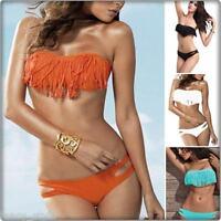 Women's Ladies 2 Piece Bandeau Padded Bikini Fringed Tassels Swimwear UK Bandeau