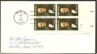 US SC # 2047 Nathaniel Hawthorne FDC.Block Of 4, Plate #. No Cachet.